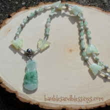 Quan Yin Prayer Beads with Peace Jade, Aventurine & New Jade Butterflies