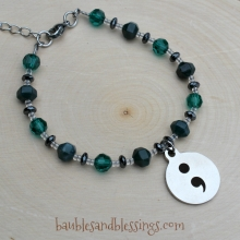Semicolon Bracelet with Bloodstone, Hemalyke & Glass Crystals