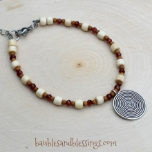 Spiral Bracelet with Garnet, Sandalwood & Boxwood