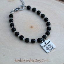 "Black Agate ""Rescued is My Favorite Breed"" Bracelet"