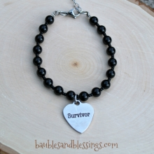 "Black Agate ""Survivor"" Bracelet"