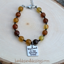 """Rescued is My Favorite Breed"" Bracelet with Caramel Agate"
