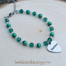 """Survivor"" Bracelet with Malachite & Glass Crystals"