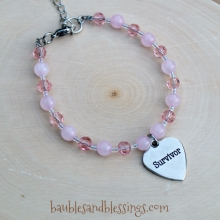 """Survivor"" Bracelet with Pink Jade & Glass Crystals"