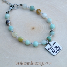 "Amazonite ""Rescued is My Favorite Breed"" Bracelet"