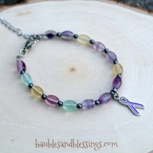 Purple Ribbon Bracelet with Fluorite & Hemalyke