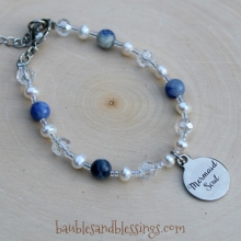 "Custom ""Mermaid Soul"" Bracelet with Sodalite, Pearls & Glass Crystals"