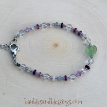 Heart Bracelet with Fluorite & Quartz