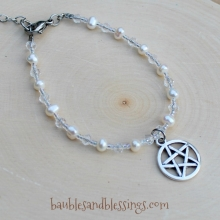 Pentagram Bracelet with Pearls & Glass Crystals