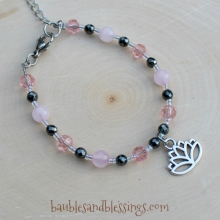 Lotus Bracelet with Pink Jade & Glass Crystals