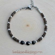 Smoky Quartz & Spinel Bracelet with Sterling Spacers