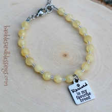 "Yellow Calcite ""Rescued is My Favorite Breed"" Bracelet"