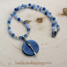 Spiral/Arrow Prayer Beads with Sodalite, Blue Lace Agate & Glass Crystals