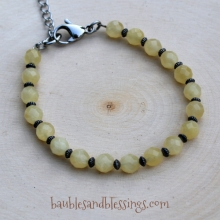 Yellow Calcite Bracelet with Oxidized Sterling Spacers