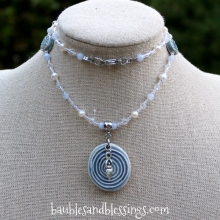Blue Lace Agate & Pearl Goddess/Spiral Necklace with Focal by Beadfreaky