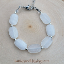 Chunky White Jade Bracelet with Sterling Spacers