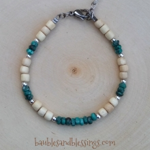 Tombolo Turquoise Bracelet with Wood & Sterling Spacers