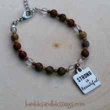 """Strong is Beautiful"" Bracelet with Cherry Creek Jasper, Quartz & Sandalwood"