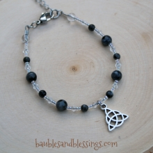 Triquetra Bracelet with Larvikite & Glass Crystals