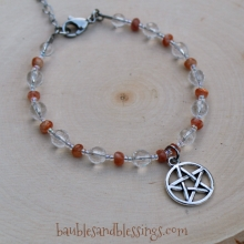 Pentagram Bracelet with Sunstone & Quartz
