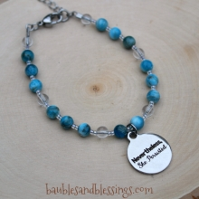 """Nevertheless, She Persisted"" Bracelet with Blue Apatite & Quartz"