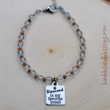 """Rescued is My Favorite Breed"" Bracelet with Quartz & Sandalwood"