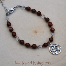 Pentagram Bracelet with Rainbow Red Jasper, Quartz & Sandalwood