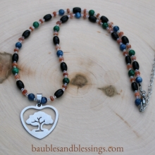 Protection Necklace with Obsidian, Blue Kyanite, Malachite, Sunstone & Tree Focal