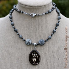 Goddess Prayer Beads with Silver Lace Agate & Focal by Beadfreaky
