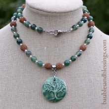 Tree of Life Necklace with Moss Agate, Rudraksha Seeds & Focal by Beadfreaky