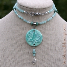 Lotus Necklace with Candy Jade, African Jade, Sterling Silver & Focal by Beadfreaky