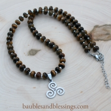 Triskele Necklace with Tiger's Eye & Sterling Spacers