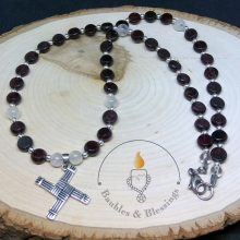 Garnet & Moonstone Necklace with Sterling Brighid's Cross