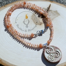 Sunstone Prayer Beads with Triskele Focal by Beadfreaky