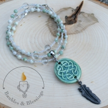 Crow Feather Prayer Beads with Peace Jade, Quartz & Knotwork Focal by Beadfreaky
