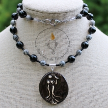 Goddess Necklace with Onyx, Silver Lace Agate & Focal by Beadfreaky