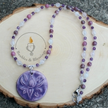 Soothing Lotus Necklace with Rose Quartz, Amethyst, Lepidolite & Focal by Beadfreaky