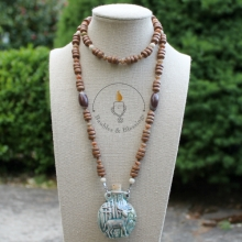 Deer Bottle Prayer Beads with Wood, Riverstone, Autumn Jasper, Sandalwood & Shiva Lingam Beads