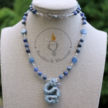 Water Dragon Necklace with Sodalite, Blue Kyanite & Raku Fired Focal